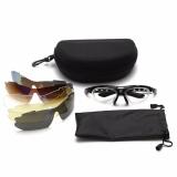 Bộ kính xe đạp, kính thể thao Gọng ĐEN gồm 5 mắt kính, 1 gọng thường, 1 gọng cận chất liệu cao cấp - POPO Sports