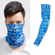 Mẫu sản phẩm Bộ ống tay + khăn bịt mặt chống nắng Màu Xanh