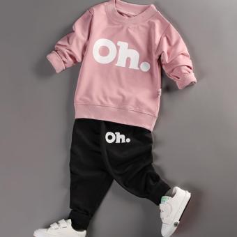 Bộ quần áo bé trai dài tay in hình OH thời trang ZAVANS - BT01 (Áo hồng - quần đen).