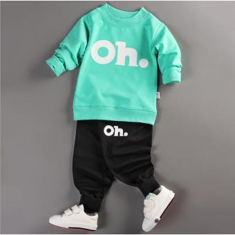 Bộ quần áo bé trai dài tay in hình OH thời trang ZAVANS - BT01 (Áo xanh lá - quần đen)