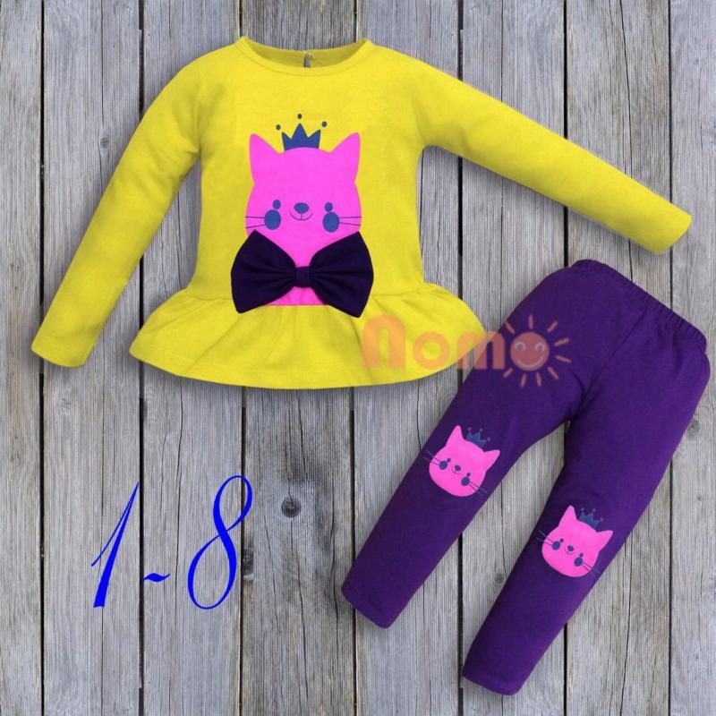 Nơi bán Bộ thun tay dài bé gái lai bèo màu vàng - bg264