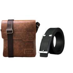 Giảm Giá Bộ túi đeo chéo và thắt lưng nam đơn giản cá tính ZAVANS (Vàng da bò)  ZAVANS