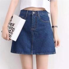 Chân Váy Jean Nữ Chữ A Trên Gối Miha Fashion (xanh đậm)