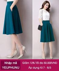Chi tiết sản phẩm Chân Váy Xòe Nana Cách Điệu Lưng L / Xanh cổ vịt