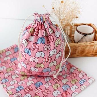 coconie Elephant Printing Drawstring Beam Port Storage Bag CandyBags Gift Bag L - intl