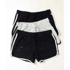 Đặt mua Combo 3 quần đùi nữ cotton dáng thể thao dây rút (đen, ghi)
