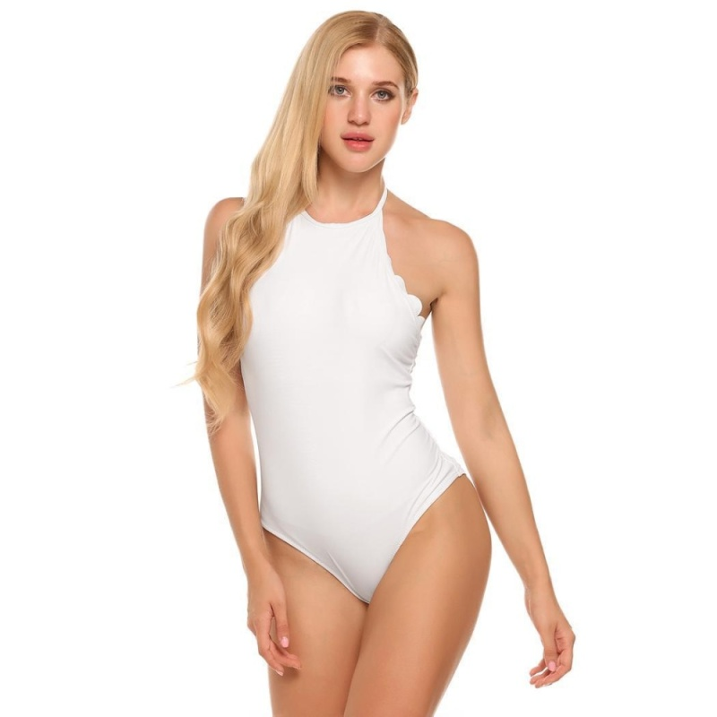 Nơi bán Cyber Women Sexy Solid One Piece Padded Backless Halter Swimsuit ( White ) - intl