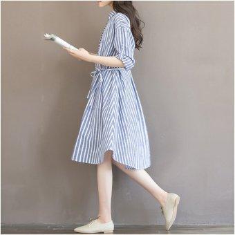 Đầm bầu thời trang công sở chất thô kẻ sọc STT204 (Sọc Xanh)