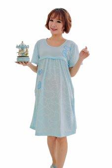 Đầm bầu thời trang mặc trước và sau sinh kết hợp cho bé ti VB68(Xanh)