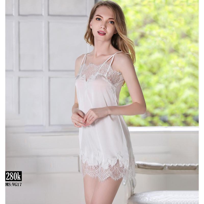 Nơi bán Đầm ngủ lụa Angela ren hoa trắng cao cấp