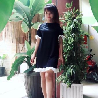 Đầm Suông Khoét Vai Phối Lưới Bèo - ML257