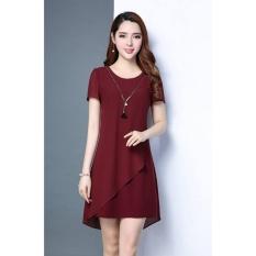 Đầm suông phối voan Misa Fashion MS257 / Đỏ đô