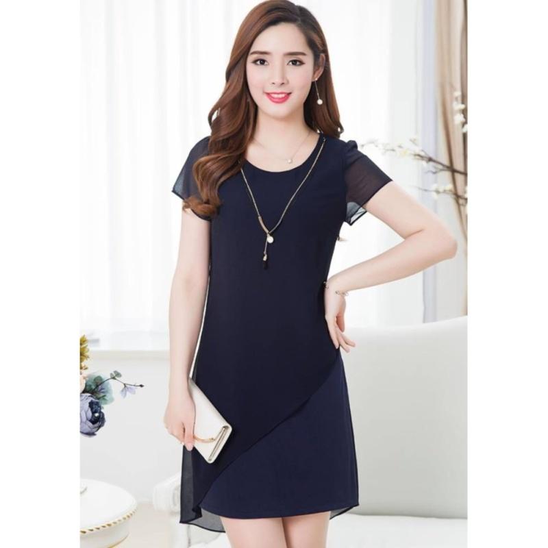 Nơi bán Đầm suông phối voan Misa Fashion MS257 / Xanh đen