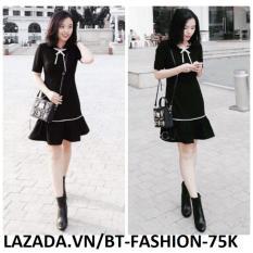 Đầm Xòe Lai Nữ, Ôm  Thời Trang Thời Trang Hàn Quốc Mới - BT Fashion - DA031B (Đen - Xòe Lai)