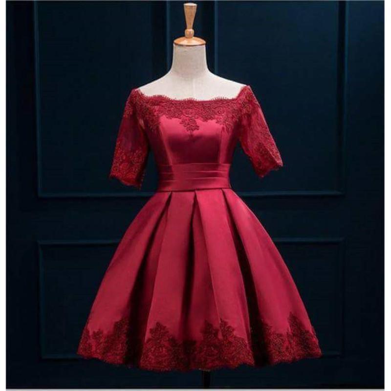 Nơi bán Đầm Xòe Xếp Li Trễ Vai Dự Tiệc Phối Ren Hana Fashion (đỏ đô)