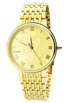 Đồng hồ nam dây kim loại mặt khắc rồng Be.Watch B029 (Vàng)