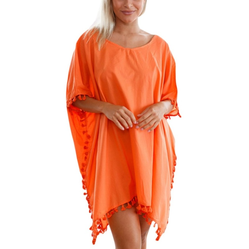 Nơi bán EOZY Fashion Ladies Women Irregular Length Casual Blouse Tops Cover-up Korean Style Female Beach Dress Beachwear Swimsuit Swimwear Bikini Cover Up Clothes (Orange) - intl