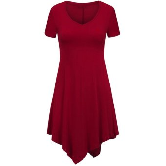 Fancyqube Women V-collar Irregular Hem Short Sleeve Dress Burgundy