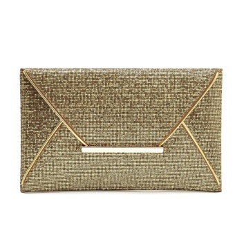 Fashion hot Women Synthetic Leather Sequined OL Envelop Clutch Bag Gold - intl