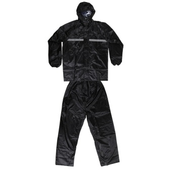 Fashion Rain Coats Trenches Men'S Black Rain Suit For Motorcycle Riders With Reflective Piping Free Size - intl