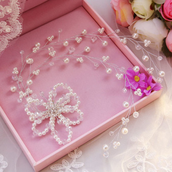 Fashion Rhinestone Pearl Bridal Headdress Flower Wedding DressAccesory (Intl)