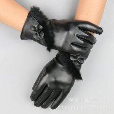 Găng tay da nữ cảm ứng (Đen)
