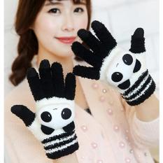 Găng Tay Len Xù Cảm Ứng Panda (Đen Trắng)