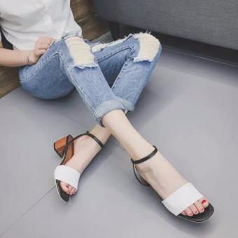 Giày gót thấp phong cách korea ( trắng ) - 2
