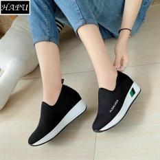 Giày lười nữ độn đế LENCIA HAPU - DLA01 (đen)