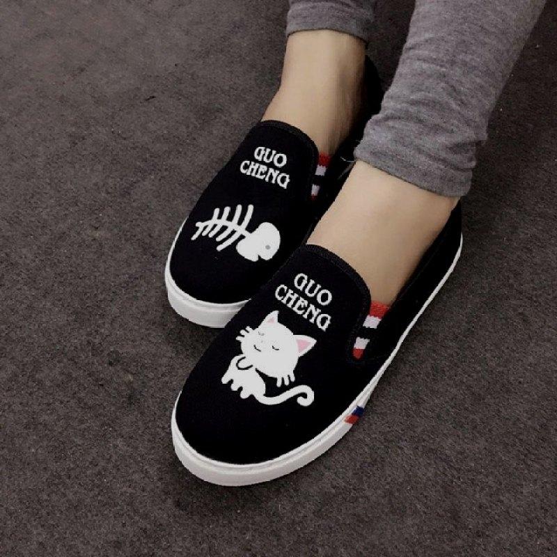 Giày Slip On Mèo Cá S277 (Đen)