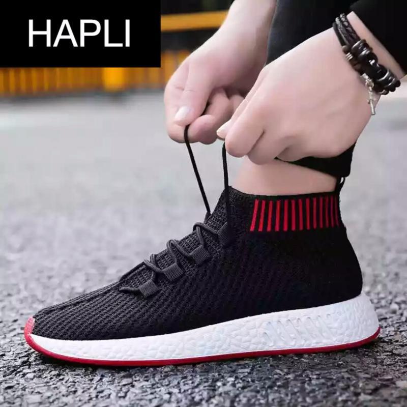 Giày sneaker nam cổ chun HAPLI - NewNMD02 (đen đế đỏ)