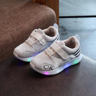 Giày thể thao siêu nhẹ cho bé - Size 26 đến 30 - chữ OK - xám đèn led