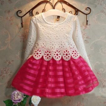 Girls Long Sleeve Princess Dress Hollow Flower Girl Dress Hot pink- intl
