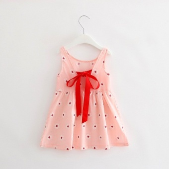 Girls Sweet Cotton Princess Dresses Cherry Flowers Dresses -Pinkflowers - intl