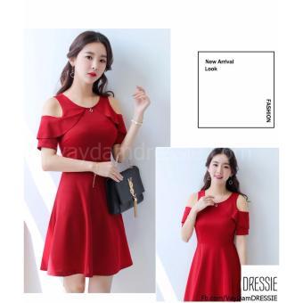 [HÌNH THẬT] Váy Đầm Xòe Chữ A Nữ Đẹp DRESSIE - DX1046B (Đỏ) - Hàng Chính Hãng - 2