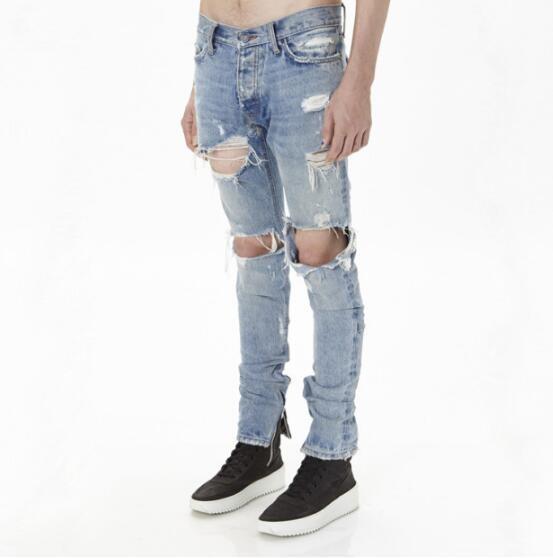 JOY Europe and America Hole jeans Men's pants Blue - intl .