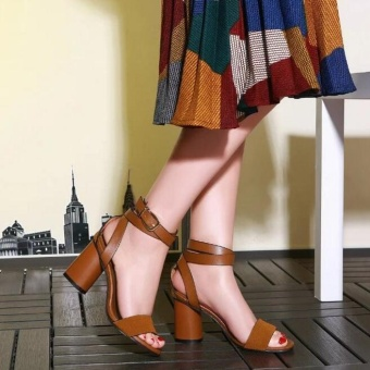 JOY Korea Korean fashion British high-heeled sandals women's shoes Brown - intl