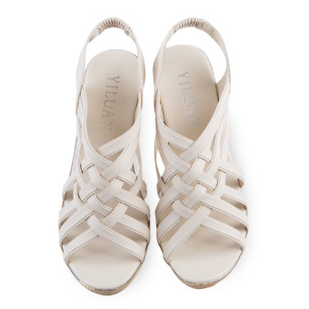 Ladies Checkered Wedge Heel Shoes Hollow Pointed Toe (Off-white) -intl