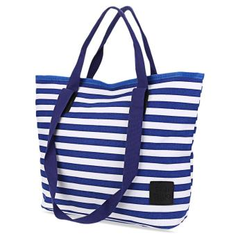 Large Capacity White Stripe Canvas Shoulder Bag Mommy Bag - intl
