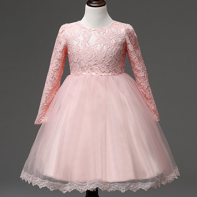 Giá bán Long Sleeve Baby Tutu Lace Princess Dress Girls Winter Dress Children Autumn Clothes Baptism Dresses (Pink) - intl