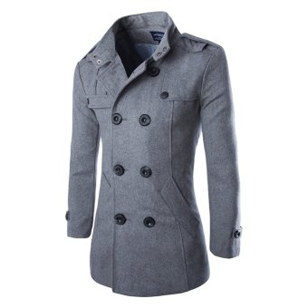 Men's Double Breasted Trench Coats Grey - intl