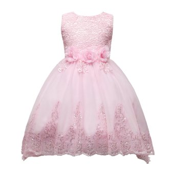 Mesh Flower Lace Girl Kid Bridesmaid Trail Dress Wedding Party Pink130cm - intl