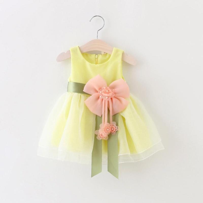 Giá bán Moonar Toddler Kids Dot Bowknot Tutu Dress Baby Girls Flower Bubble Gown Birthday Party Dress ( Yellow ) - intl