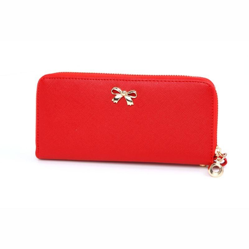Sale New Women Korean Cute Bowknot Purse Solid Wearable Wallet Handbag RD - intl mua tiết