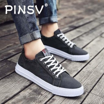 PINSV Canvas Men's Casual Sneakers Skate Shoes (Grey) - intl