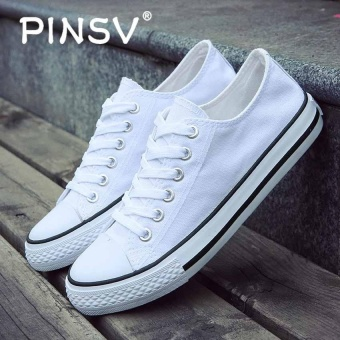 PINSV Classic Canvas Skate Shoes Unisex Fashion Sneaker (White) -intl