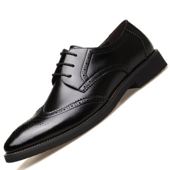 PINSV Genuine Leather Men's Breathable Casual Business Shoes(Black) - intl