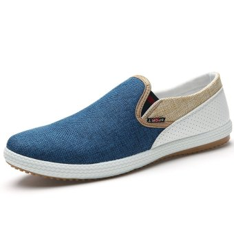 PINSV Men Fashion Flats Shoes Casual Canvas Shoes(Blue) - intl