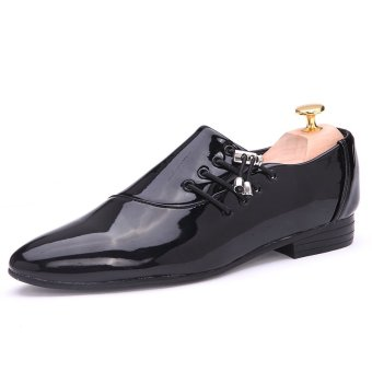 PINSV Men Formal Shoes Casual Business Shoes(Black) - intl