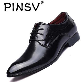 PINSV Men's Formal Shoes Business Casual Oxfords Leather Shoes Black - intl